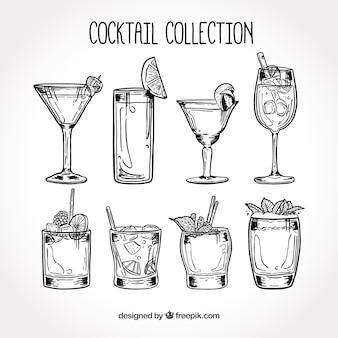 Ręcznie rysowane koktajl kolekcji