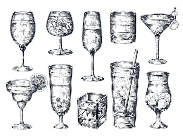 Ręcznie rysowane koktajle. kieliszki z napojami alkoholowymi tonik i lemoniadą, rum martini gin i napoje tropikalne.
