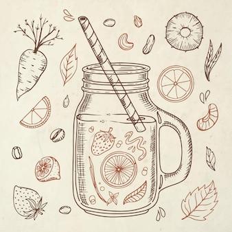 Ręcznie rysowane koktajle w ilustracji szkła blendera