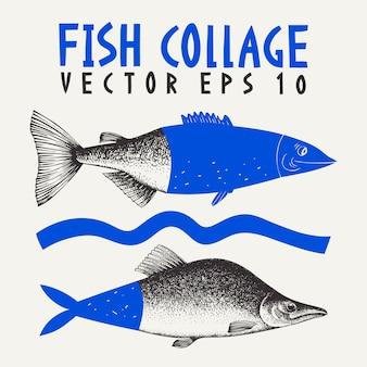 Ręcznie rysowane kolaż ilustracja różowy łosoś ryb