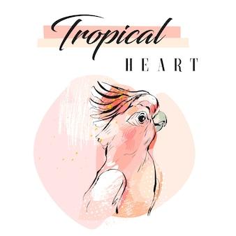 Ręcznie rysowane kolaż streszczenie kreatywnych tropikalnych papuga z organiczną teksturą odręczne
