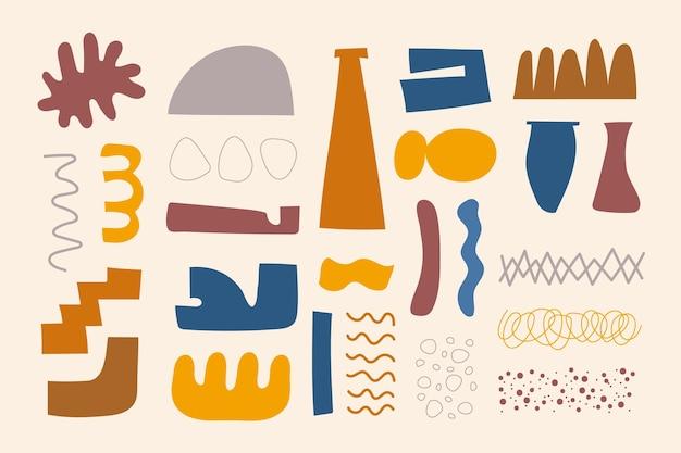 Ręcznie rysowane kolekcja abstrakcyjnych kształtów