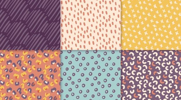 Ręcznie rysowane kolekcja abstrakcyjnych wzorów