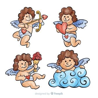 Ręcznie rysowane kolekcja anioł walentynki