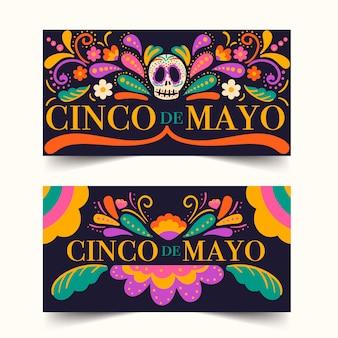Ręcznie rysowane kolekcja banner cinco de mayo