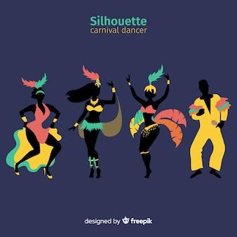 Ręcznie rysowane kolekcja brazylijski karnawał tancerz