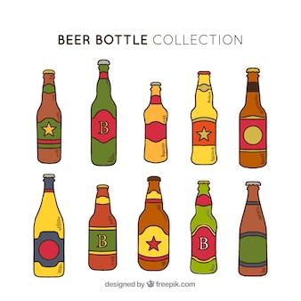 Ręcznie rysowane kolekcja butelki piwa