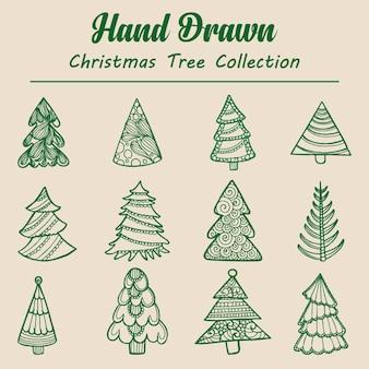 Ręcznie rysowane kolekcja choinki
