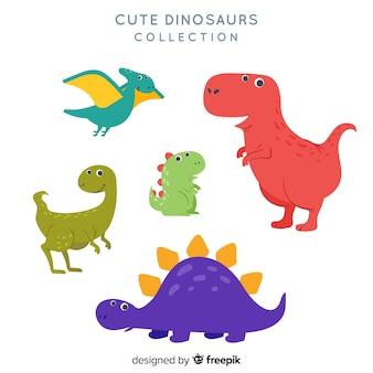 Ręcznie rysowane kolekcja dinozaurów