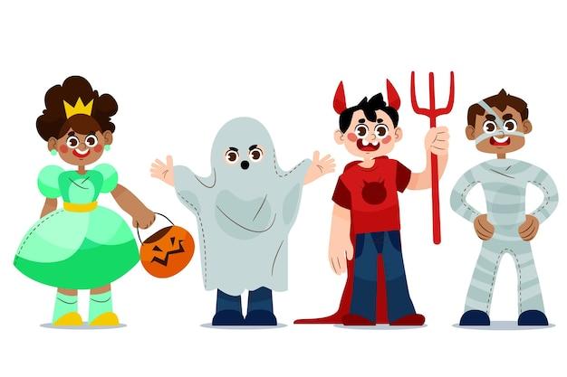 Ręcznie rysowane kolekcja dla dzieci halloween