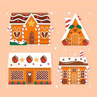 Ręcznie rysowane kolekcja dom z piernika