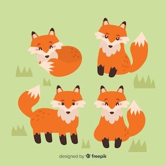 Ręcznie rysowane kolekcja dzikich lisów