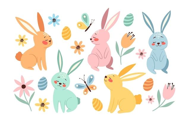 Ręcznie rysowane kolekcja easter bunny