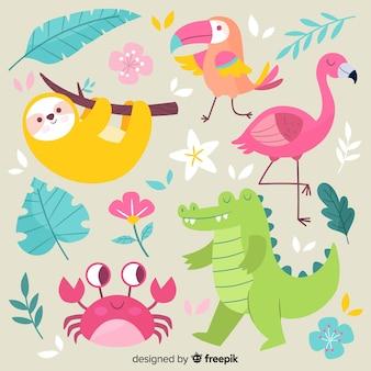 Ręcznie rysowane kolekcja egzotycznych zwierząt