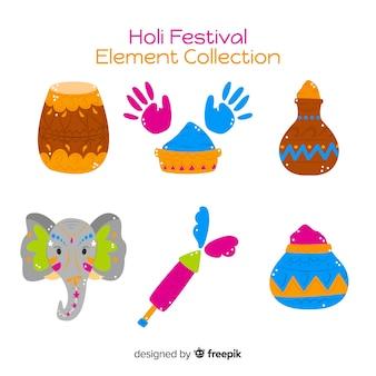 Ręcznie rysowane kolekcja element festiwalu holi