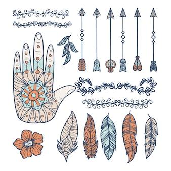 Ręcznie rysowane kolekcja elementów boho