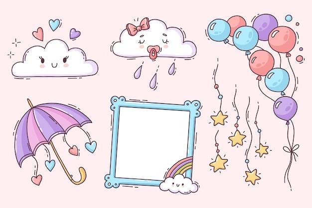 Ręcznie rysowane kolekcja elementów dekoracji chuva de amor