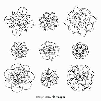 Ręcznie rysowane kolekcja elementów dekoracji kwiatowych
