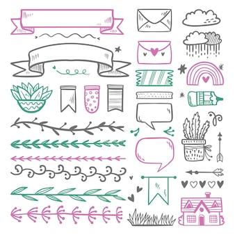 Ręcznie rysowane kolekcja elementów dziennika punktorów