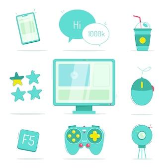 Ręcznie rysowane kolekcja elementów gry streamer