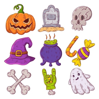 Ręcznie rysowane kolekcja elementów halloween