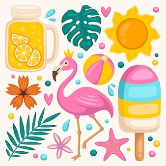 Ręcznie rysowane kolekcja elementów letnich