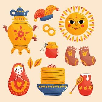 Ręcznie rysowane kolekcja elementów maslenitsa