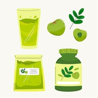 Ręcznie rysowane kolekcja elementów owoców amla