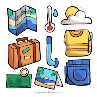 Ręcznie rysowane kolekcja elementów podróży