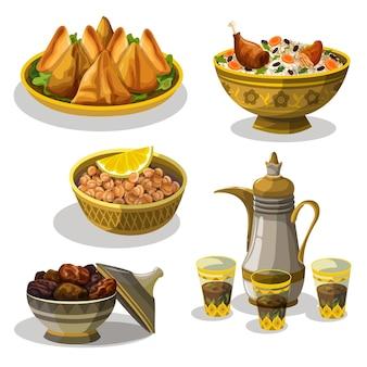 Ręcznie rysowane kolekcja elementów posiłku iftar