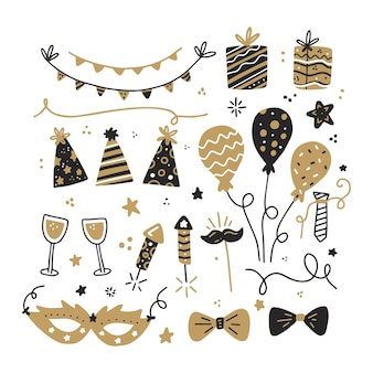 Ręcznie rysowane kolekcja elementów strony nowego roku
