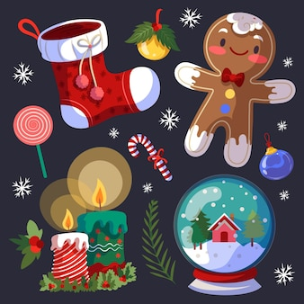 Ręcznie rysowane kolekcja elementów świątecznych