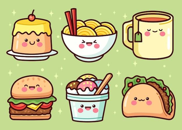 Ręcznie rysowane kolekcja elementów żywności