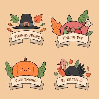 Ręcznie Rysowane Kolekcja Etykiet Dziękczynienia Darmowych Wektorów
