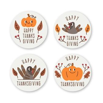Ręcznie rysowane kolekcja etykiet dziękczynienia