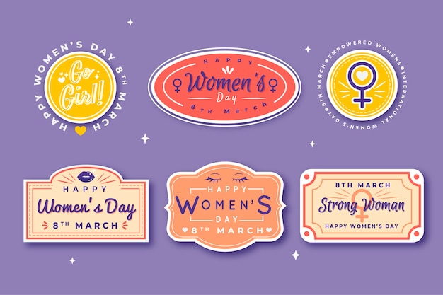 Ręcznie rysowane kolekcja etykiet dzień kobiet