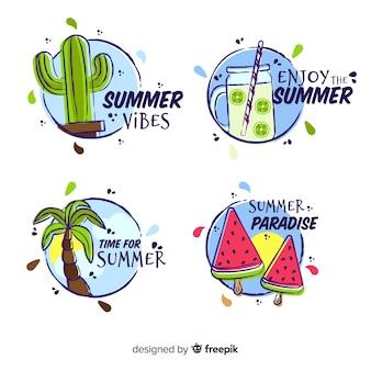 Ręcznie rysowane kolekcja etykiet lato
