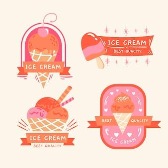 Ręcznie rysowane kolekcja etykiet lodów ice