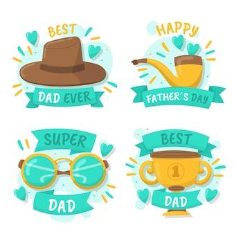 Ręcznie rysowane kolekcja etykiet na dzień ojca