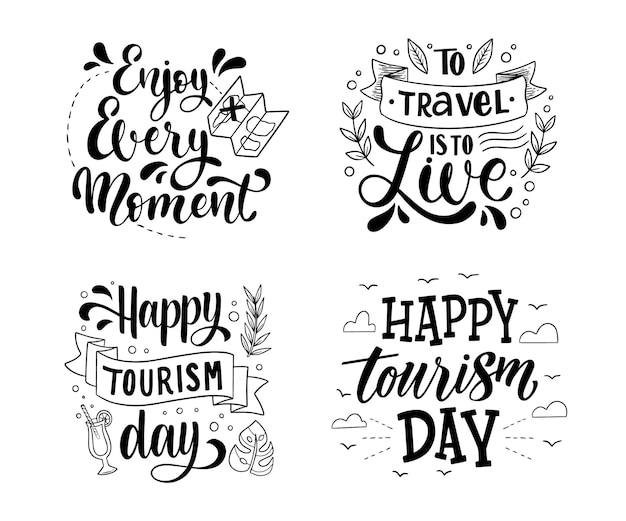 Ręcznie rysowane kolekcja etykiet na światowy dzień turystyki