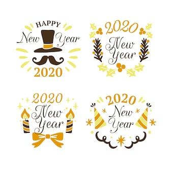 Ręcznie rysowane kolekcja etykiet nowy rok 2020