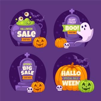 Ręcznie rysowane kolekcja etykiet płaskich halloween