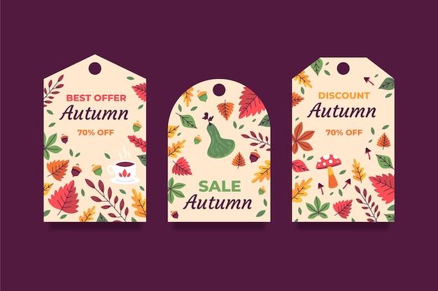 Ręcznie rysowane kolekcja etykiet płaskich jesiennych wyprzedaży