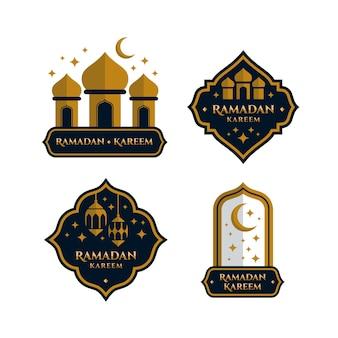 Ręcznie rysowane kolekcja etykiet ramadan w ciemnych kolorach