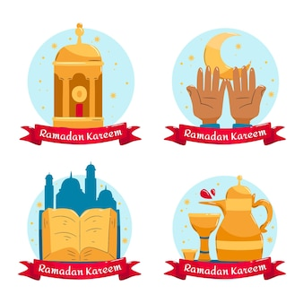 Ręcznie rysowane kolekcja etykiet ramadan