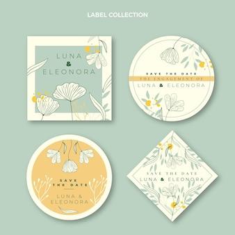 Ręcznie rysowane kolekcja etykiet ślubnych