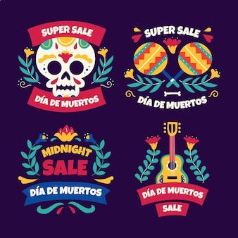 Ręcznie rysowane kolekcja etykiet sprzedaży dia de muertos