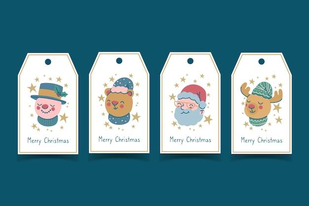 Ręcznie rysowane kolekcja etykiet świątecznych