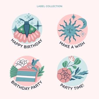 Ręcznie rysowane kolekcja etykiet urodzinowych boho