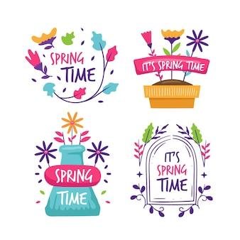 Ręcznie rysowane kolekcja etykiet wiosna
